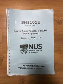SN1101E South Asia: People, Culture, Development Course Pack/Textbook