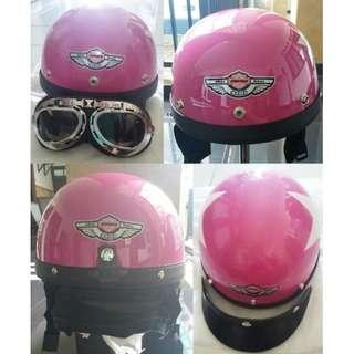 Helm Motor Goggles Black Pink Half Face