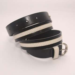 Black and White Faux Leather Belt