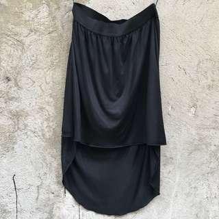 Black garterized Hi Low skirt