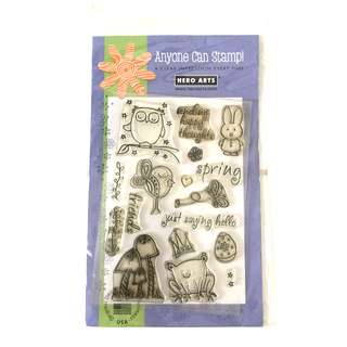 Hero arts sending happy thoughts spring animals clear rubber cling stamp