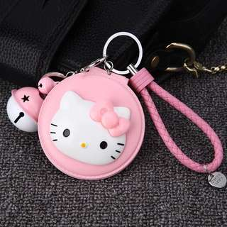 Cute Cartoon Hello Kitty Keychain Bells Leather Rope Mirror Kitty Cat Key Ring Holder Car Purse bag Charm Pendant Key Chains
