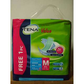 Tena Value Adult Diapers. Packet of 12 pieces.  Medium size.  Price is per packet.  7 packets available.  See Incentive below.