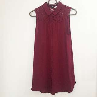 H&M Maroon sleeveless top