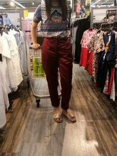Asos Wine Red Satin Trousers