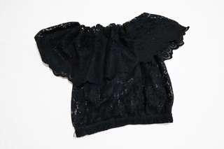 Black lace off shoulder crop top