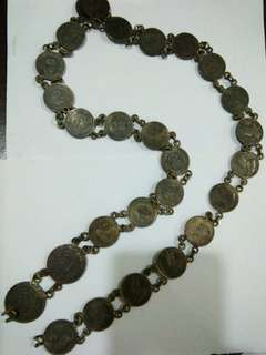 Strait settlements 20cent and 50cents silver coins belt