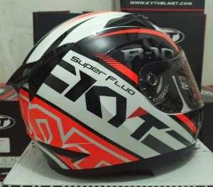 KYT R10 FLAT SUPER FLUO WHITE RED