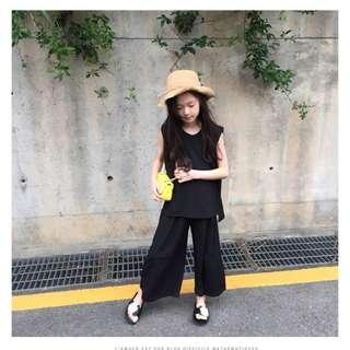 ▶2018韓版童裝▶ 純色無袖背心闊腿褲兩件套