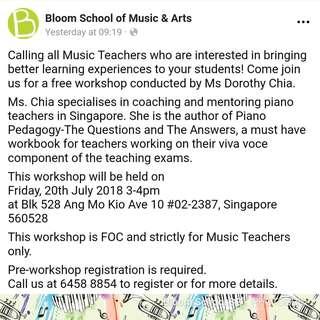Free Music Teachers' Workshop