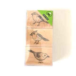 Hero arts birds design wood rubber stamp