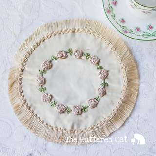 RESERVED Exquisite antique fringed silk doily, hand-made silk ribbon work doily, pale pink raised silk roses