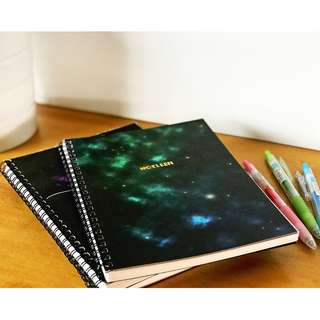 🚚 A5 PERSONALISED GALAXY THEMED NOTEBOOK – GREEN