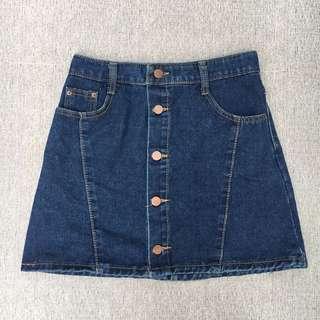 Button-down A-line Denim Skirt