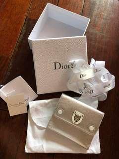 Authentic Lady Dior Medium Wallet Calfskin in Metallic Silver