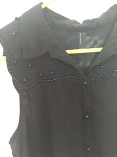Vera Moda Black Sheer Top