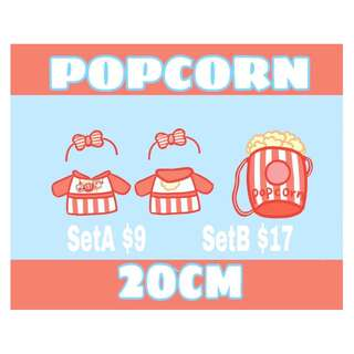 Popcorn outfit & bag for 20cm doll