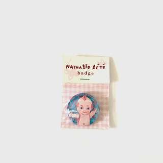 Nathalie lete kewpie Doll badge brooch