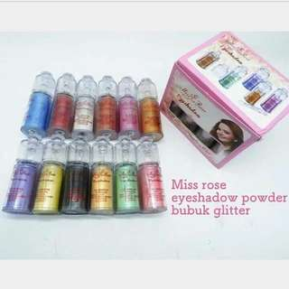 MR WARNA - MISS ROSE EYESHADOW GLITTER BUBUK WITH APLICATOR