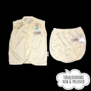NEW Fluffy 1 stel Baju Lengan Kutun dan Celana Pop Bayi/Baby Warna Kuning Polos Newborn 0-2 Bulan (Updated 13/07/18)