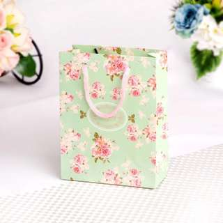 Green Floral Country Style Gift Paper Bag Carrier