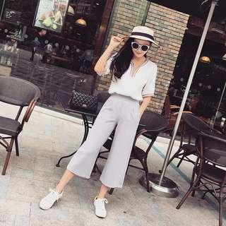 Grey culottes chiffon wide leg pants palazzo trousers #july70