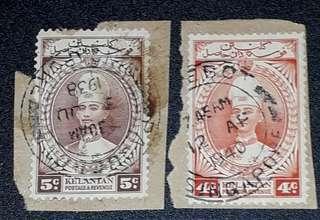 Kelantan old stamps 1939 & 1940 used