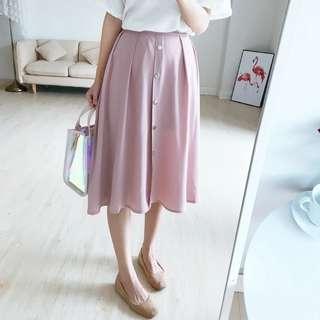 Pink Midi Skirt high waist chiffon buttons vintage style pastel light pink long skirt #july70