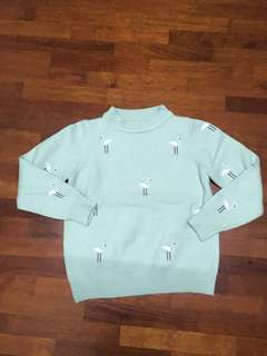 Mint Sweater with Flamingo