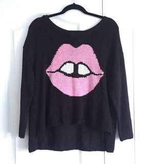 Oversize Black Sweater w/ Lip Graphic