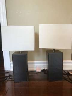 Set of Two table lamps - leather