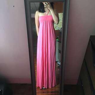 F21 Pink Maxi Dress w/ Braid Halter