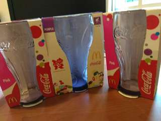 Three coca-cola glasses for sale