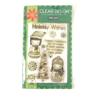 Hero arts holiday wishes Christmas clear cling rubber stamp