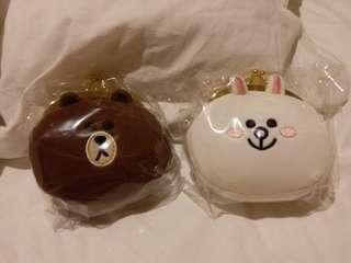 Line Friends 金口散子包 一對 熊大 兔兔