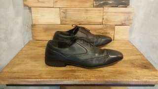 Salvatore Ferragamo Pantofel Leather Black Shoes Second Sepatu Branded Import
