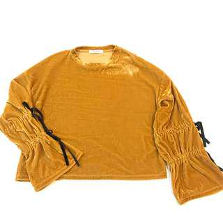 Velvet Mustard Yellow Bell Sleeve Autumn Top