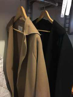 Black and camel beige coat