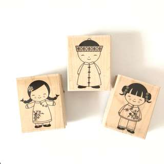 Chinese boy and girl new year wooden rubber stamp