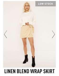 Glassons Linen Blend Wrap Skirt (Nude)