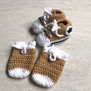 Crochet Converse Inspired Sneakers Set