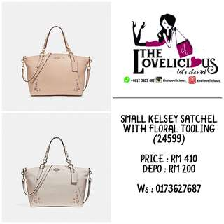 SMALL KELSEY SATCHEL WITH FLORAL TOOLING COACH F24599