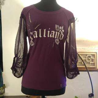 NEW Galliano Top Beaded Cotton & Chiffon  全新 Galliano 上衣 衫 釘珠 棉 & 雪紡