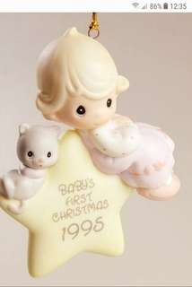 "Precious Moments 陶瓷公仔 ""Baby First Christmas 1995""  204719"