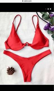 Zaful Red Underwire Bikini