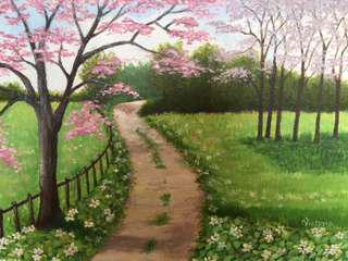 Original Artwork Painting by Victoria: Cherry Blossoms