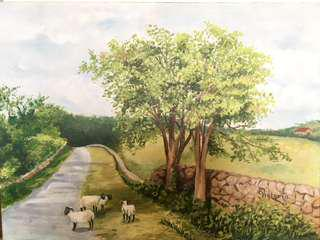 Original Artwork Painting by Victoria: Wandering Sheep