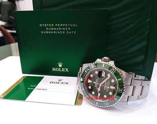 Preloved Rolex 116610LV Submariner Hulk Green Dial Green Ceramic Bezel Year 2017