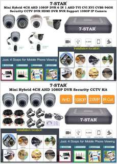 CCTV Package-4/8/16CH Full HD Hybrid DVR + 4/8/16 Full-HD 2.0MP High Performance SONY 1080P Dome/Bullet (indoor/outdoor) Ultra Clear Day & Night CCTV Security Camera (AHD/TVI/CVI/960H)