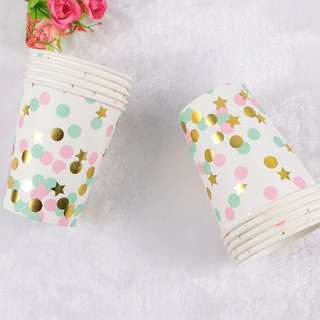 Disposable party cups colourful
